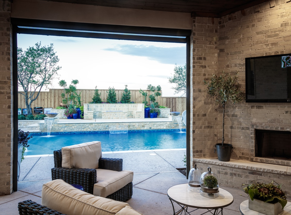 Gorgeous view of pool from outdoor living area